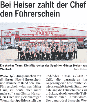 spedition heiser news fuehrerschein